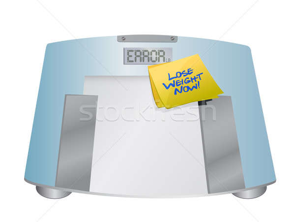 lose weight now sign on a weight scale. illustration design over Stock photo © alexmillos