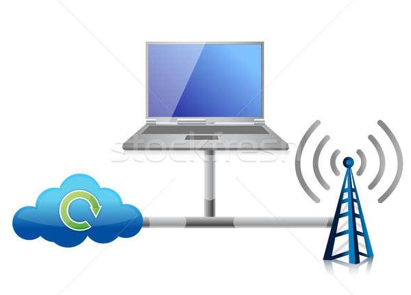 Networking icon illustration design over a white background Stock photo © alexmillos