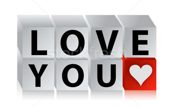 3D Love Button cube text over white background illustration Stock photo © alexmillos