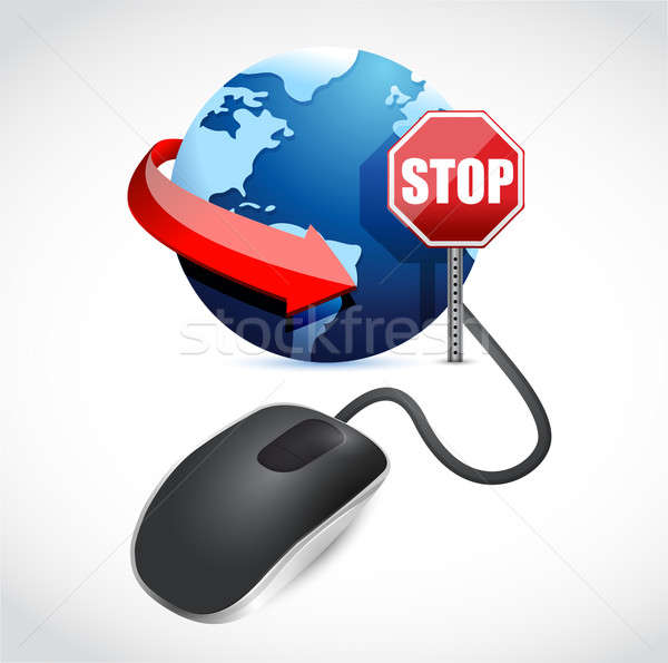 browsing is blocked by a stop sign illustration design Stock photo © alexmillos
