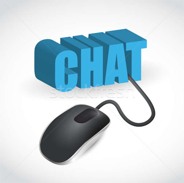 chat sign and mouse illustration design over white Stock photo © alexmillos