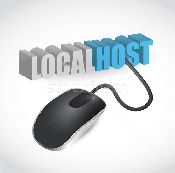 localhost sign connected to mouse illustration design over white Stock photo © alexmillos