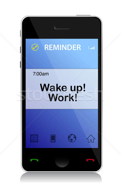 work, Wake up cell message illustration design over white Stock photo © alexmillos