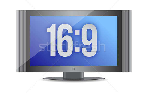 Płaski ekran monitor działalności telewizji telefon podpisania Zdjęcia stock © alexmillos