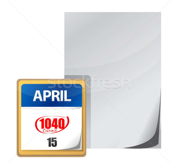 Stock photo: Taxes calendar april 15th paper