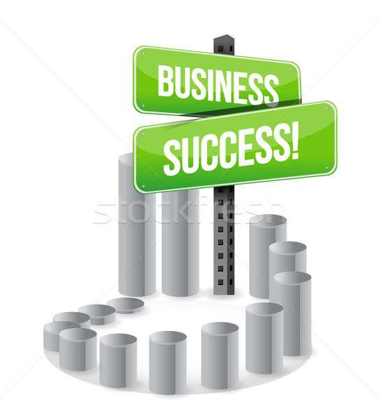 Business succes teken grafiek straat groene Stockfoto © alexmillos