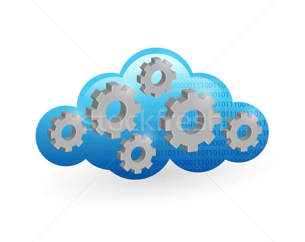 Cloud computing and gear illustration design Stock photo © alexmillos