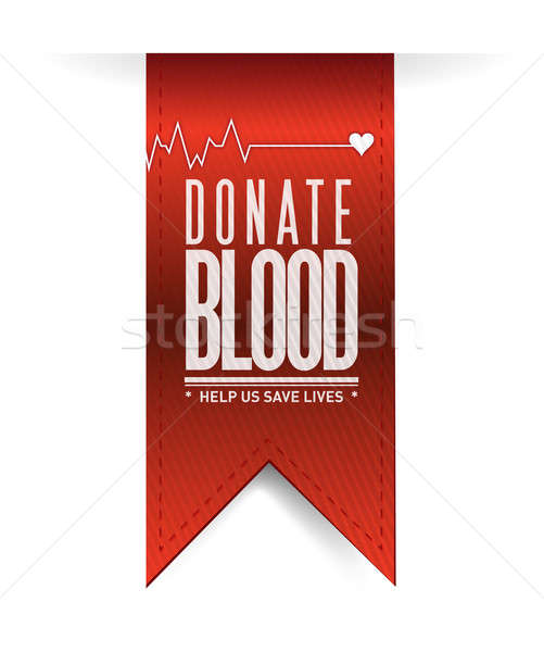 Donate blood red heart banner illustration Stock photo © alexmillos