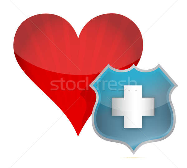 Heart medical protection by a shield Stock photo © alexmillos