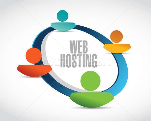 Háló hosting emberek hálózat felirat illusztráció Stock fotó © alexmillos