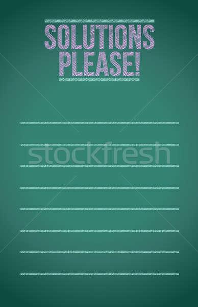 Solutions please blackboard Stock photo © alexmillos