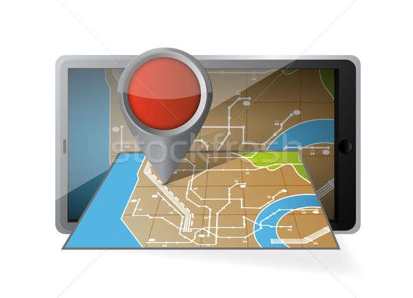 Computador comprimido navegação móvel gps ilustração Foto stock © alexmillos
