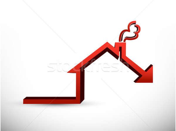 House market falling concept graph illustration Stock photo © alexmillos