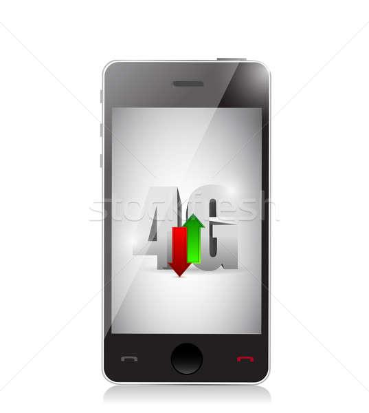 Okostelefon 4g kapcsolat illusztráció terv fehér Stock fotó © alexmillos