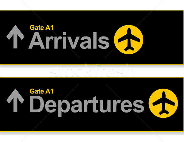 Arrival and departures airport signs isolated over a white backg Stock photo © alexmillos