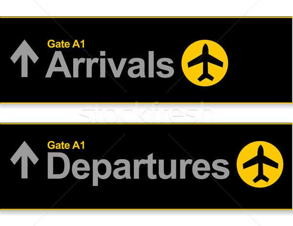 Varış gidiş havaalanı işaretleri yalıtılmış beyaz Stok fotoğraf © alexmillos