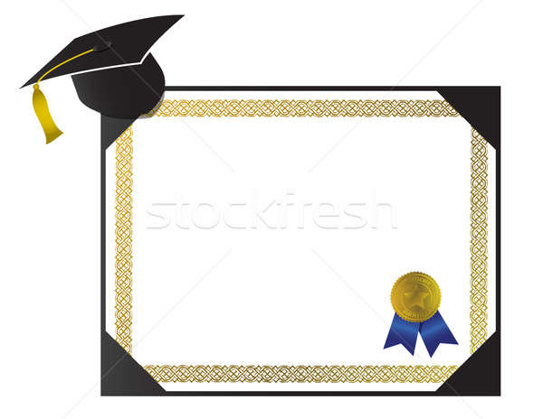 An isolated generic College Diploma with cap and tassel Stock photo © alexmillos