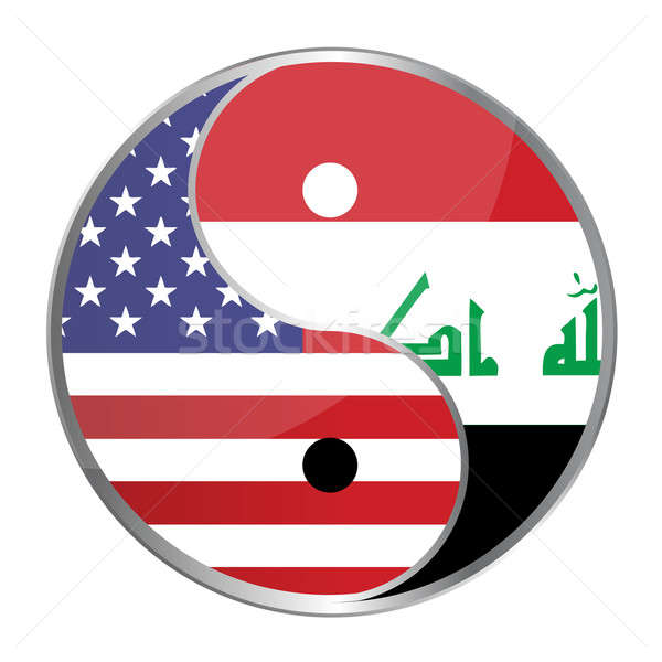 Ying yan symbol with the American and Iraqi flags. Vector File A Stock photo © alexmillos