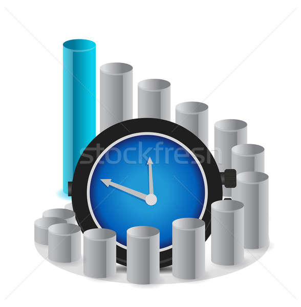 A graph with clock a business concept illustration Stock photo © alexmillos
