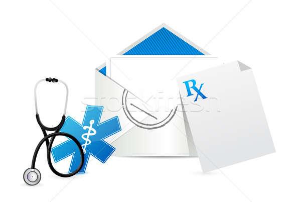 Médico prescrição envelope carta ilustração projeto Foto stock © alexmillos