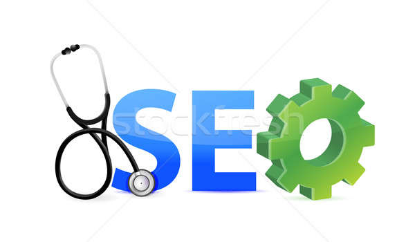 seo medical investigation concept illustration design over white Stock photo © alexmillos