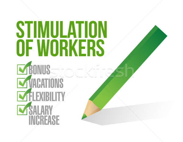 stimulation of workers. check list illustration design over whi Stock photo © alexmillos