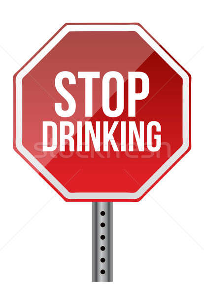 Stop drinking sign illustration design over a white background Stock photo © alexmillos