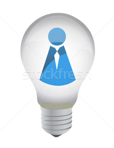 lightbulb with icon inside illustration design over white Stock photo © alexmillos