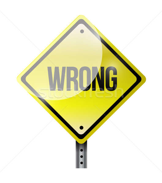 wrong road sign illustration design over a white background Stock photo © alexmillos