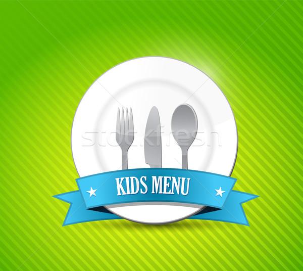 kids menu illustration design over a green background Stock photo © alexmillos