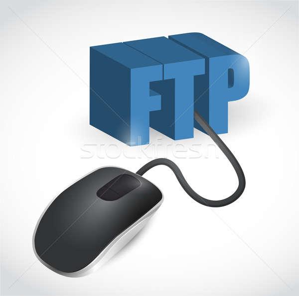 Ftp signo ratón ilustración diseno blanco Foto stock © alexmillos