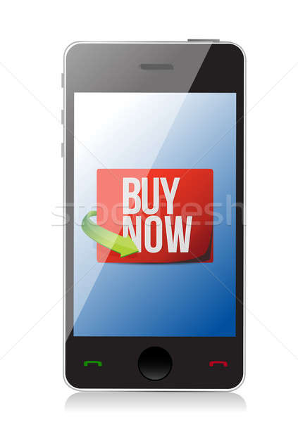 buy now sign on a smartphone. illustration design over white Stock photo © alexmillos