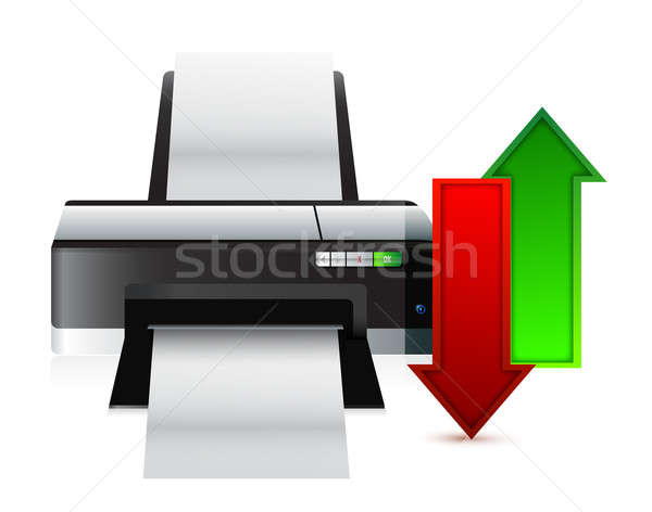 printer upload and download content illustration design over whi Stock photo © alexmillos