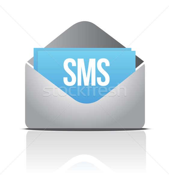 Sms boríték üzenet papír technológia telefon Stock fotó © alexmillos
