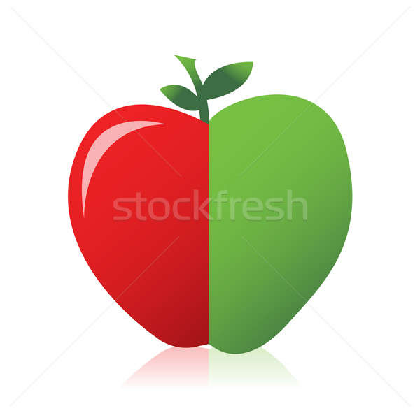 Stock photo: Apple combined from red and green