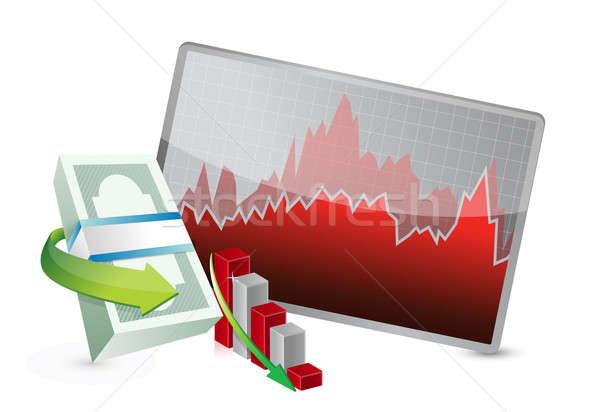 failing stock exchange graph illustration design over a white ba Stock photo © alexmillos