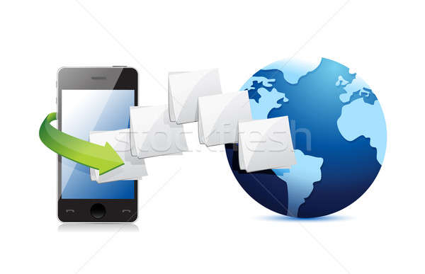 smart phone connected to the web. folder and globe illustration  Stock photo © alexmillos