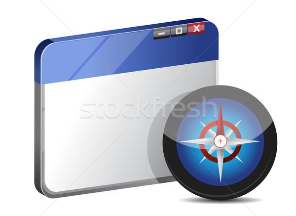 Internet háló böngésző iránytű technológia felirat Stock fotó © alexmillos