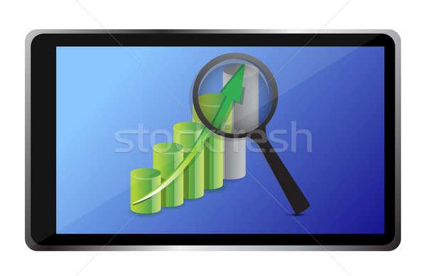 Wykres biznesowych tabletka ilustracja projektu biały ceny Zdjęcia stock © alexmillos