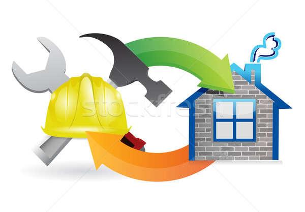 construction process under construction sign illustration design Stock photo © alexmillos