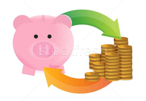 экономия цикл иллюстрация дизайна деньги счастливым Сток-фото © alexmillos