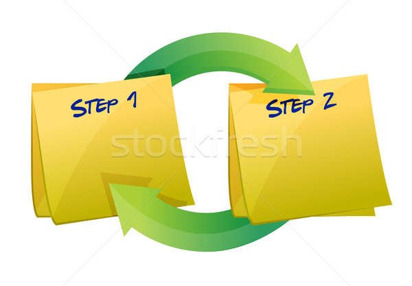 step one and two cycle illustration design over a white backgrou Stock photo © alexmillos