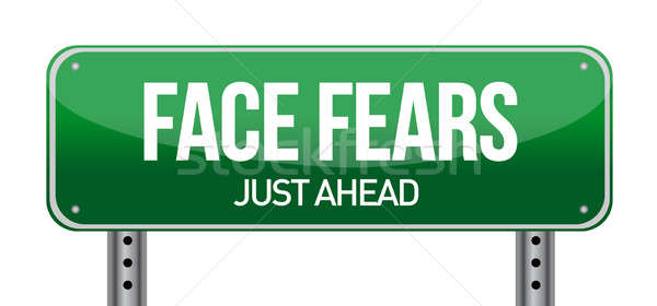 Face Fears Green Road Sign Stock photo © alexmillos
