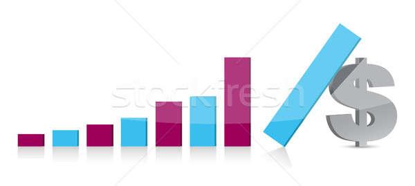 Dollár valuta grafikon zuhan üzlet pénzügy Stock fotó © alexmillos