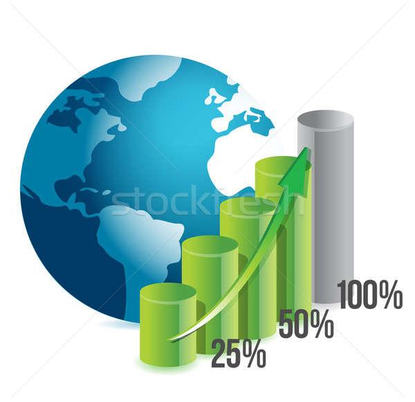 Foto stock: Percentagem · gráfico · globo · ilustração · projeto · branco