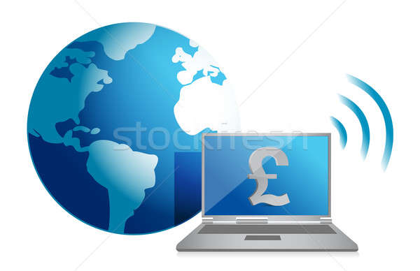 pound online currency concept illustration design over white Stock photo © alexmillos