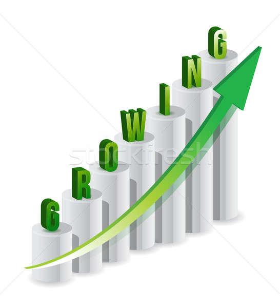 Progresso barras texto crescente negócio trabalhador Foto stock © alexmillos