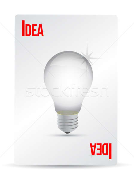 idea lightbulb playing card illustration design over white Stock photo © alexmillos