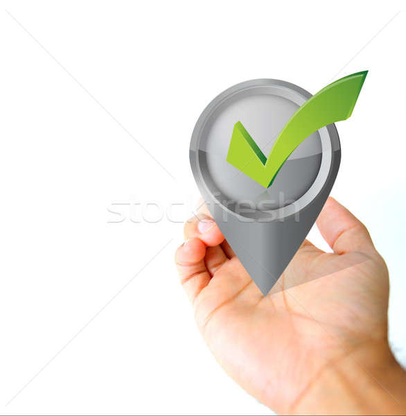Hand holding a approval pin pointer icon  Stock photo © alexmillos