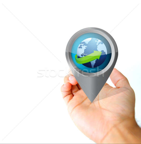 Stock photo: Hand holding a global pin pointer icon